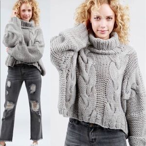 POL Chunky Cable Knit Cropped Turtleneck Sweater